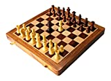 """StonKraft 10"""" Collectible Foldable Wooden Chess Game Board Set with Magnetic Crafted (with Extra Queen) Wood Pieces"""
