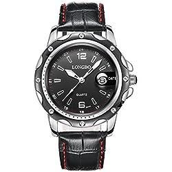 Men's Watch Waterproof Sports Watch Men's Singles Calendar Casual Male Watch Black Leather Strap 80101