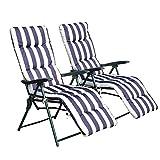 Outsunny® 2 x Klappstühle Gartenstuhl Sonnenliege Armlehne klappbar 5 Positionen Auflage Blau/Weiß