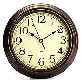 Bekith redondo clásico reloj Retro Silencioso de cuarzo decorativo reloj de pared, 30,48cm