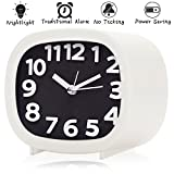 Jcobay Non Ticking Alarm Clock, Battery Powered Bedside Clock Silent Simple to Set Travel Clocks with Nightlight