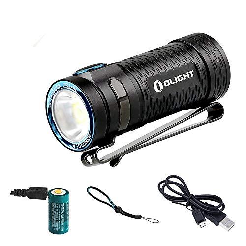 Olight® S1 MINI HCRI Baton LED Taschenlampe Cree XP-G3 CW 90 CRI LED max. 450 Lumen, inkl. 650mAh RCR123A Akku mit Mikro-USB Anschluss aufladbar - Ultra leicht, kompakt und schwarz (Baton)