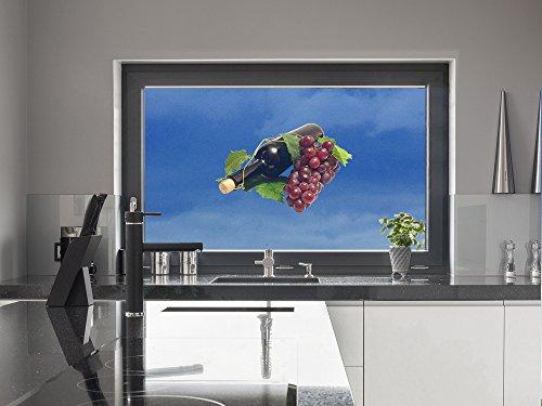 GRAZDesign 981077_30_GK Fenstersticker Wein-Flasche mit Weintrauben | Fensterfolie als Bunte Deko...