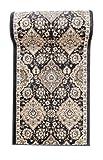 Läufer Teppich Flur in Anthrazit Schwarz - Orientalisch Klassischer Muster - Brücke Läuferteppich nach Maß - 120 cm Breit - AYLA Kollektion von Carpeto - 120 x 400 cm