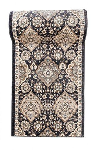 Läufer Teppich Flur in Anthrazit Schwarz - Orientalisch Klassischer Muster - Brücke Läuferteppich nach Maß - 70 cm Breit - AYLA Kollektion von Carpeto - 70 x 250 cm -