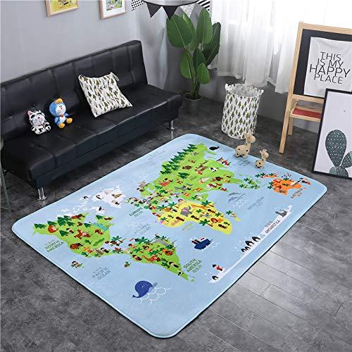 Verdickungsmatte Cartoon Tier Wohnzimmer Schlafzimmer Teppich rutschfeste Startseite Weltkarte 145 * 195cm ()