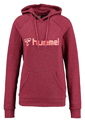 Hummel Classic Bee S-Felpa da donna con cappuccio, Donna, Sweatshirt CLASSIC BEE S HOODIE, Scarlet Melange/Fiery Coral, M