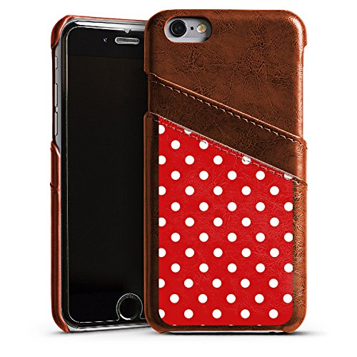 Apple iPhone 5s Housse Étui Protection Coque Points Rockabilly Robe Étui en cuir marron