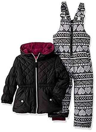 Pink Platinum Little Girl's Quilted Jacket Heart Print Snowsuit