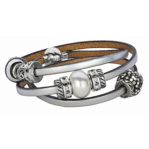 Silber mit Rhodium Finish Italienisches Leder Wrap-around-Armband