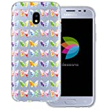 mobilefox dessana Aquarell Tier Pattern Transparente Silikon TPU Schutzhülle 0,7mm Dünne Handy Tasche Soft Case für Samsung Galaxy J3 (2017) Schmetterling