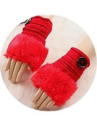 donne inverno caldo guanti senza dita in finta pelliccia morbida Botton  Hmittens cinturino a maglia guanti 2bae704feac