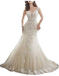 fadecf84ce73 ANJURUISI Vestito da Cerimonia Nuziale del Vestito da Cerimonia Nuziale in  Rilievo Aperta del Collo di