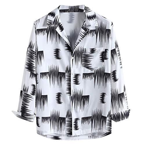 Xmiral Shirt Hemd Herren Gedruckte Lange Ärmel Umlegekragen Tops Knopf Outdoor Streetwear Oberbekleidung Hemden Sweatshirts(Weiß,M) -