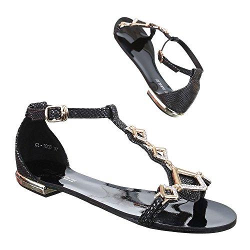 Damen Schuhe, CL-1005-1, SANDALEN MIT DEKO BESETZTE Schwarz