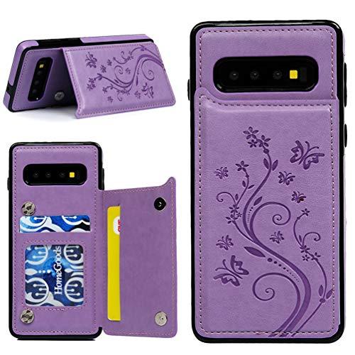 Promixc für Galaxy S10 Hülle, Premium Leder Flip Schutzhülle Doppelt Magnetic Snap mit Ständer Funktion Case Cover Brieftasche Handyhülle für Samsung Galaxy S10 - Lila Leder Snap Case