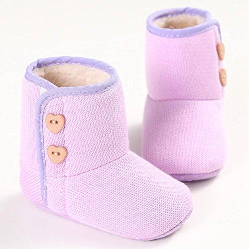 Longra Kinder Taste Jungen Babyschuhe Purple Winterstiefel Sohle Baby Mädchen Krabbelschuhe Weichen qrqpPw5