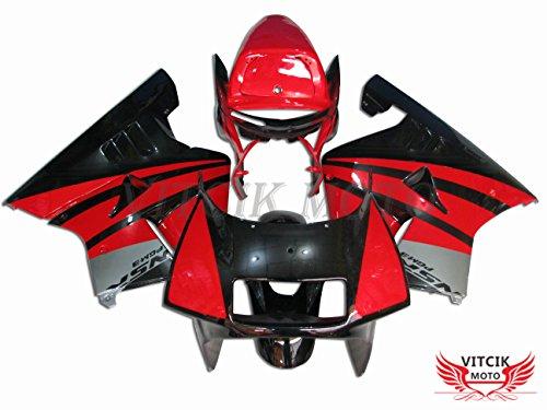 VITCIK (Verkleidungssets Passend für NSR250R MC21 SP P3 1990 1991 1992 1993 NSR250 R 90-93) ABS-Kunststoff-Spritzguss Motorrad-Komplett Motorrad-Karosserie Rahmen(Rot & Schwarz) A001