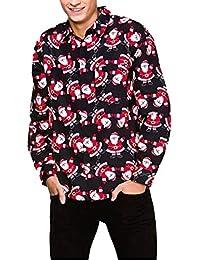 Camisas de Hombre Rovinci Casual Otoño Invierno 3D Navidad Santa Elk Muñeco de Nieve Camisa Delgada de Manga Larga Tops Blusas,Liquidación