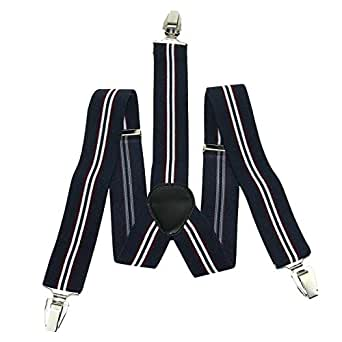 Enwis Suspenders Braces Polyester Elastic Adjustable Clip-On Stripe Navyblue White Red