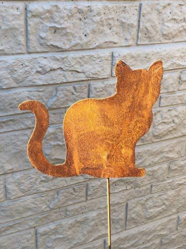 Gartenstecker Kätzchen aus Metall/Rost am Stab, ca. 100cm hoch, NEU