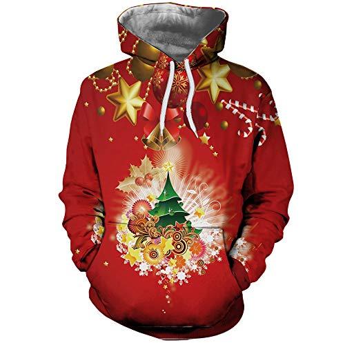 DOLDOA herren weihnachtspullover,Casual Weihnachtsbaum Liebhaber 3D Print Party Langarm Hoodie Top Bluse Mantel
