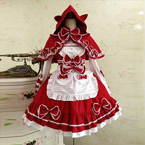 QAQBDBCKL Viktorianische Dame Kostüm Nette Japanische Prinzessin Lolita Kleider Mädchen Frauen Süße Kawaii Klassische Gothic Halloween Prom Cosplay Kleid (Halloween-kostüm Prinzessin Viktorianische)