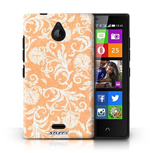 Kobalt® Imprimé Etui / Coque pour Nokia X2 Dual Sim / Fleurs Rouges conception / Série Fleurs Fond Orange
