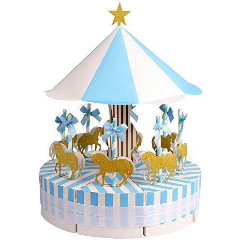 Aytai boîtes de faveurs de mariage Joyeux-Go-Round Style Candy coffrets avec des licornes d'or pour carrousel Party Birthday Baby Shower Décor (Bleu)