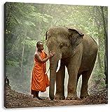 wunderschöner Elefant mit Mönch, Format: 60x60 auf Leinwand, XXL riesige Bilder fertig gerahmt mit Keilrahmen, Kunstdruck auf Wandbild mit Rahmen, günstiger als Gemälde oder Ölbild, kein Poster oder Plakat
