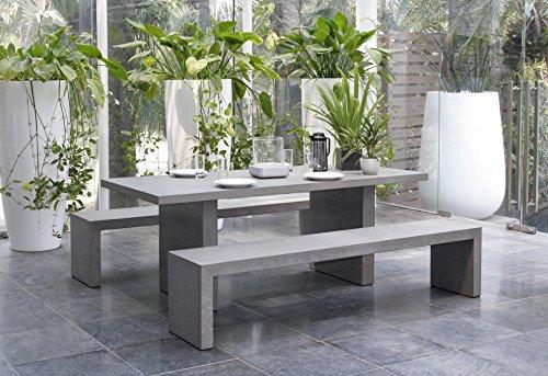 MACABANE 820000 Salon de Jardin Couleur Beton en Fibre de Ciment Dimension 200cm X 90cm X 75cm