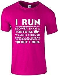 I RUN.. Slower than a tortoise walking through chocolate spread, But I Run. - Novelty Running T-Shirt