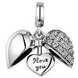 GW Charms Amour Cœur en Argent Sterling 925 avec Cristal Swarovski pour Bracelets Pandora