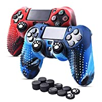 6amLifestyle Silicone Cover Skin Anti-slip for PS4/ SLIM/PRO Controller x 2 (Camouflage Blue + Red) FPS PRO Thumb Grips x 10