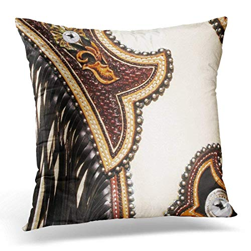 artyly Kissen Kissenbezug Western Tan und Brown Chap Lederoptik Decor Square Accent Pillowcase 45x45 cm Tan Chaps