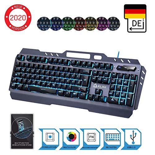 KLIM Lightning Hybrid Halbmechanische Tastatur QWERTZ DEUTSCH + Sieben Metallstruktur - Gamer Gaming-Tastatur für Videospiele PC PS4 Xbox One - Neue 2020 Version