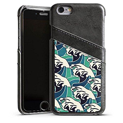 Apple iPhone 5s Housse Étui Protection Coque Vagues Été Mer Étui en cuir gris