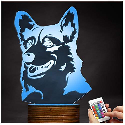 (Chengyd Optische Täuschung 3D LED-Lampe Corgi Dog Night Light, USB-angetriebene Fernbedienung Ändert die Farbe des Lichts, Kinder Spielzeug Dekoration Weihnachten)
