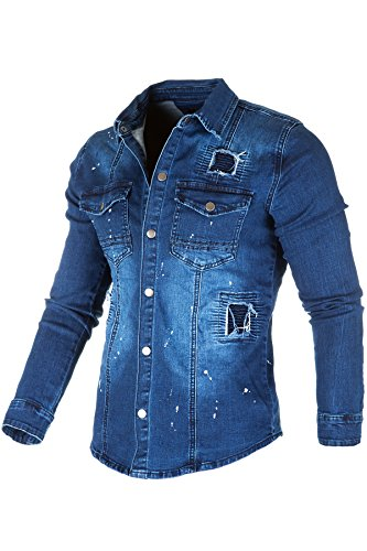 Tokyo Label Jeanshemd Herren Hemd Jeans Slim Fit Used-Look Polo Shirt (Blau, XXL)