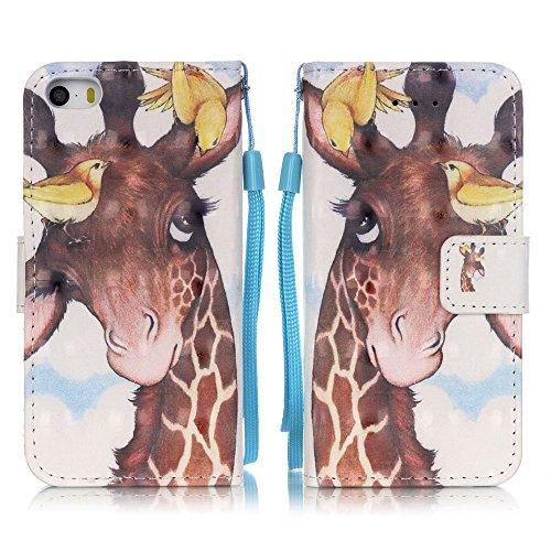 Housse iPhone SE, SpiritSun Etui en PU Cuir Portefeuille Coque pour Apple iPhone SE / 5 / 5S Beau Couleur Modèle Couverture Intérieur Souple TPU Case Cover avec Fonction Support Stand - Girafe Girafe