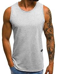 OZONEE Hombre Camista sin Mangas con Estampado Camiseta de Tirantes Ajustada Gimnasio Fitness 9078