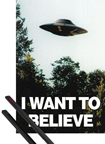 Poster + Sospensione : X Files Poster Stampa (91x61 cm) Voglio Crederci E Coppia Di Barre Porta Poster Nere 1art1®