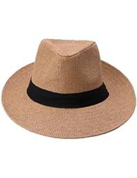 Y-BOA Chapeau de Panama/Plage Homme Style Visière Large en Paille