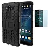 ISENPENK ISENPENK LG V10/H960A(2015) Stand Case mit Panzerglas/Schutzfolie,TPU+PC Ultra Slim Silikon Tough Rugged Dual-Layer Hardcase with Built-in Kickstand Thin Schutzhüllen,Wasserdicht Shockproof Anti Slip Protection Hülle Tasche für LG V10/H960A(2015) 5.7Zoll-[schwarz]+Panzerglas/Schutzfolie/Displayschutzfolie