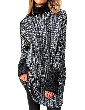 Las Mujeres De Manga Larga Jersey De Invierno Casual Loose Knit Jersey De Cuello Alto