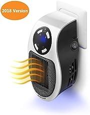 Heizlüfter, Queta Mini Steckdosen-Heizgeräte 500W Heizleistung Wandauslass, Warmluftgebläse mit Thermostat und Timer für Zuhause, Badezimmer, Büro