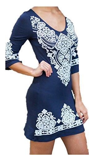EMIN Damen Kleid Rundhals A-Linie Sexy 3/4-Arm Ethnisch mit Stickerei Blau
