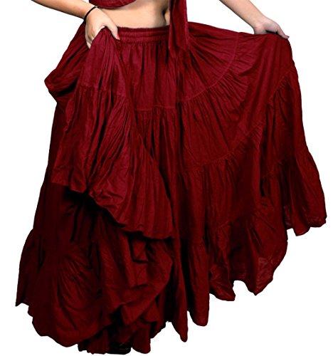 Tänzer World Damen Gypsy 25Yard Farbe Baumwolle Rock Gr. One Size, kastanienbraun