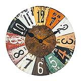 XIAOLVSHANGHANG Clock Runde Wanduhr, Amerikanischen Retro Industriellen Stil Wohnzimmer Schlafzimmer Hängen Tisch Restaurant Kreative Uhr Stille Uhr 30 cm