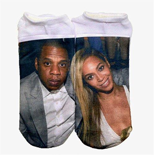 Weibliche Modelle 3D-Druck Socken Kindersocken (Beyonce Muster, grau)